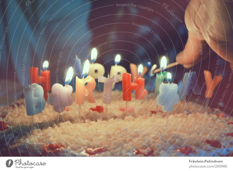 Happy birthday. Cake Hand Fingers Delicious Joy Happiness Joie de vivre (Vitality) Together Birthday Birthday cake Congratulations Candle Ignite
