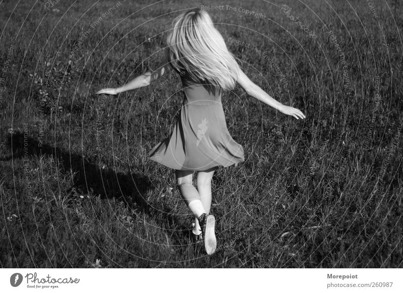 Happy Human being Youth (Young adults) Beautiful Sun Summer Joy Adults Feminine Gray Grass Jump Funny Earth Body Blonde Dance