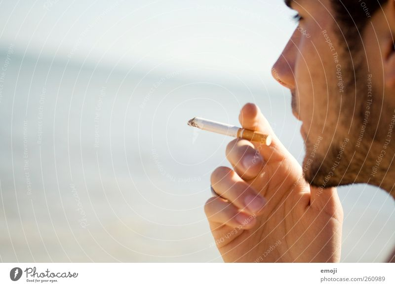 Human being Youth (Young adults) Hand Beautiful Summer Ocean Adults Face Masculine 18 - 30 years Smoking Beautiful weather Facial hair Young man Cigarette Designer stubble