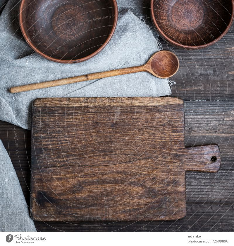 empty old cutting board Plate Bowl Spoon Table Kitchen Nature Wood Old Retro Brown background Blank chopping cook cooking Cut food Grunge Object photography