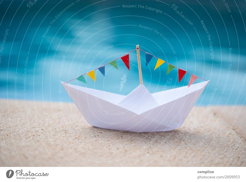 Party paper ship at the water's edge Lifestyle Happy Healthy Vacation & Travel Tourism Summer Summer vacation Sun Sunbathing Beach Feasts & Celebrations