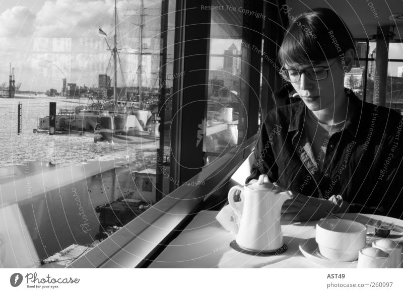 Human being Woman Youth (Young adults) Vacation & Travel Adults Relaxation Window Sit Tourism Table Hamburg 18 - 30 years Harbour Café Cup Tourist Attraction