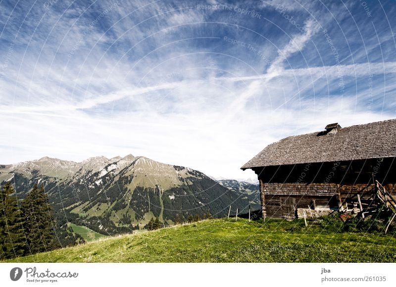Sky Nature Summer Relaxation Landscape Calm Clouds House (Residential Structure) Mountain Life Autumn Meadow Freedom Contentment Hiking Trip