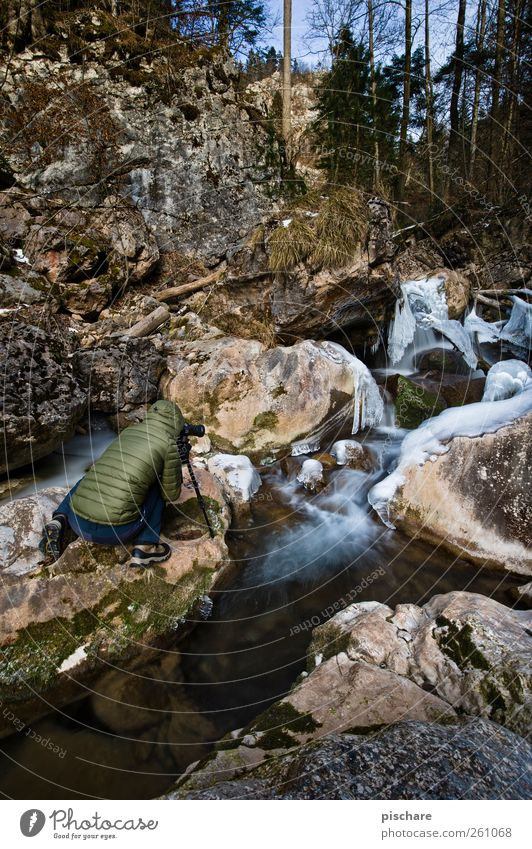 Human being Nature Water Winter Environment Ice Frost Observe Passion Brook Take a photo