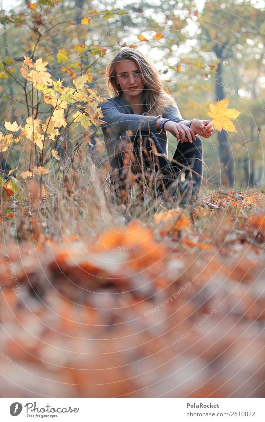 #A# Autumn Day Environment Nature Contentment Autumnal Autumn leaves Autumnal colours Early fall Automn wood Autumnal weather Woman Model Colour photo