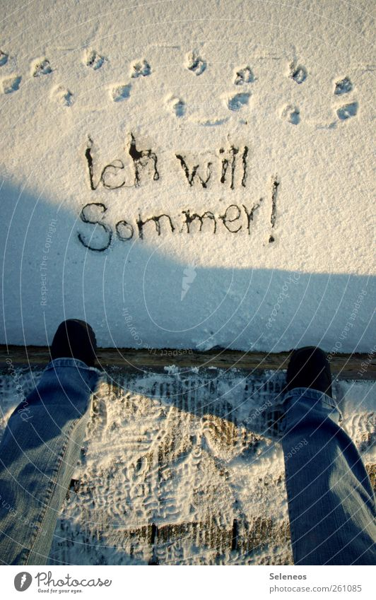 Now. Now. Summer Winter Snow Winter vacation Human being Legs Feet 1 Environment Nature Weather Ice Frost Jeans Footwear Animal tracks Characters Write Stand