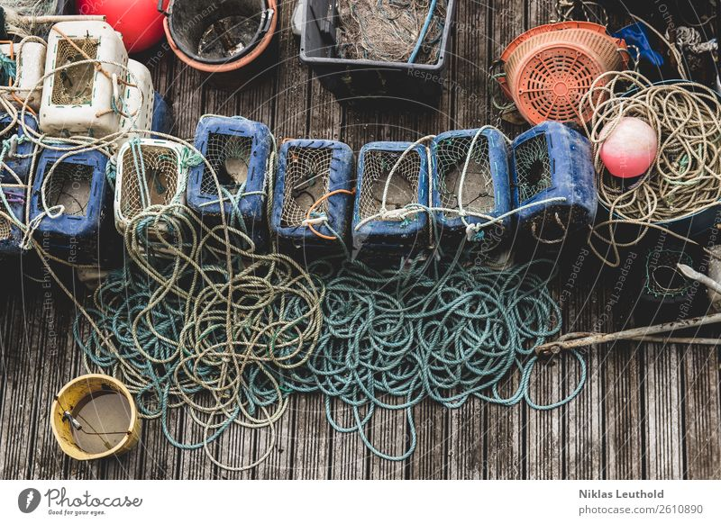 fishing Work and employment Profession Fishing village Deserted Bowl Box Wood Line Knot Net Blue Multicoloured Yellow Orange Red Gluttony Voracious Footbridge