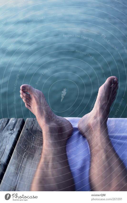 Feet up. Art Esthetic Contentment Closing time Frictionless Life Calm Remote Toes Water Surface of water Footbridge Lakeside Youth culture Youth (Young adults)