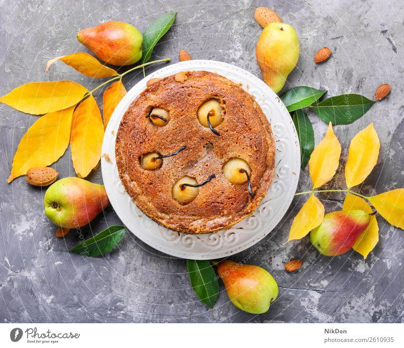 Homemade autumn pear cake autumnal pie food sweet dessert homemade tart fruit baked bakery delicious breakfast sugar recipe cuisine caramel healthy french