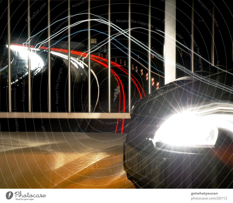 White Red Dark Car Bright Transport Speed Corner Highway Handrail Snout Front side Spoon bait