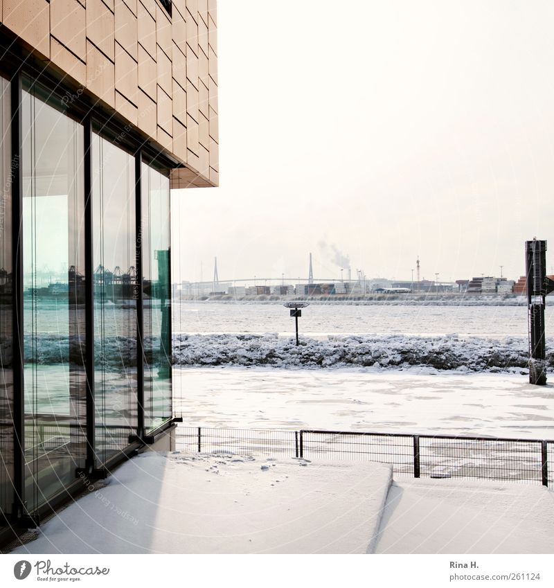 Winter Snow Wall (building) Architecture Wall (barrier) Building Bright Ice Facade Hamburg Bridge Frost River Beautiful weather Freeze Port City