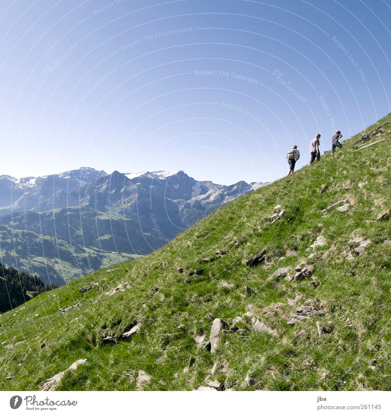Human being Nature Youth (Young adults) Summer Calm Adults Meadow Life Landscape Mountain Freedom Grass Friendship Contentment Hiking Masculine