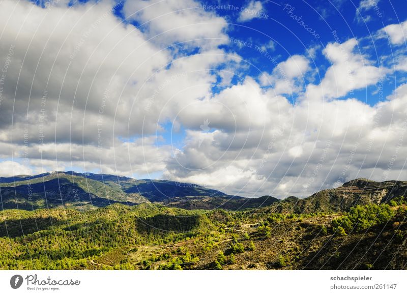 Clouds above the Troodos / Cyprus Nature Sky Weather Mountain troodos Island Blue Green White Far-off places Colour photo Exterior shot Deserted Day Light