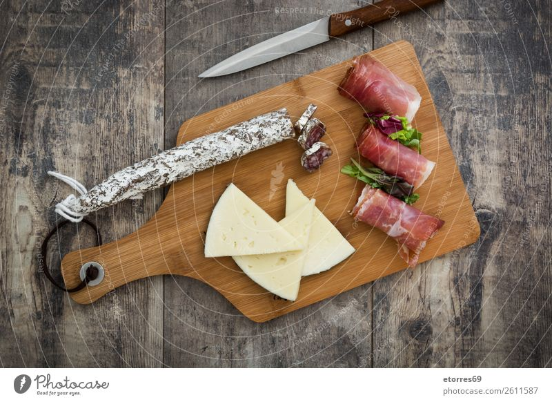 Spanish serrano ham, cheese and sausage prosciutto Food Healthy Eating Food photograph Meat iberian Italian Snack Raw Breakfast Pork jabugo Mediterranean
