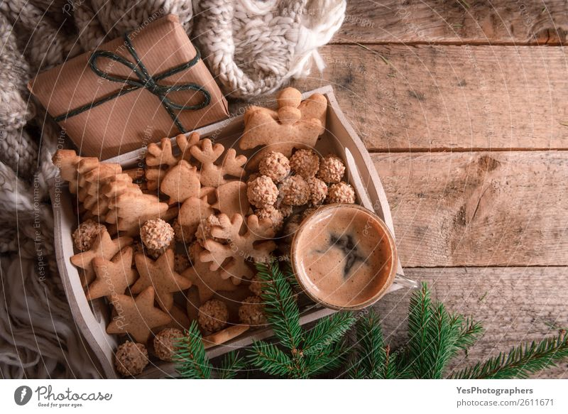 Tray with Christmas cookies and coffee Winter Lifestyle Warmth Family & Relations Happy Leisure and hobbies Decoration Table Gift Tradition Home Festive Cozy