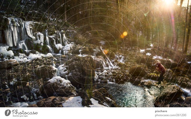 The Photographer's Passion Leisure and hobbies 1 Human being Nature Landscape Water Sun Sunrise Sunset Winter Ice Frost Brook Observe Cold Colour photo