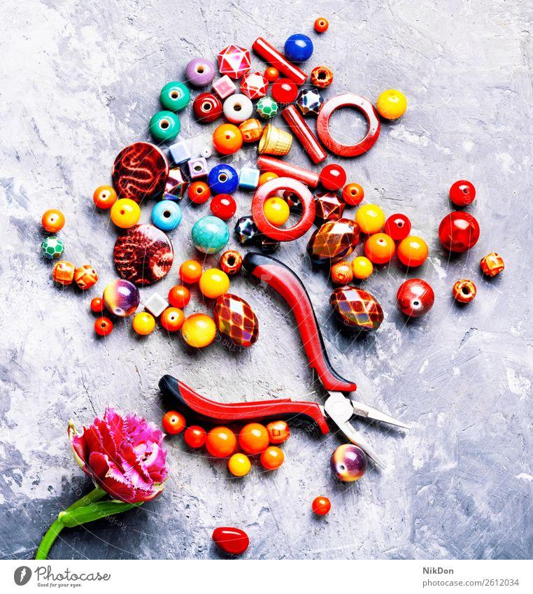 Beads for jewelry bead tulip flower female decoration craft handmade accessory beading fashion colorful beads design macro stone hobby art style necklace