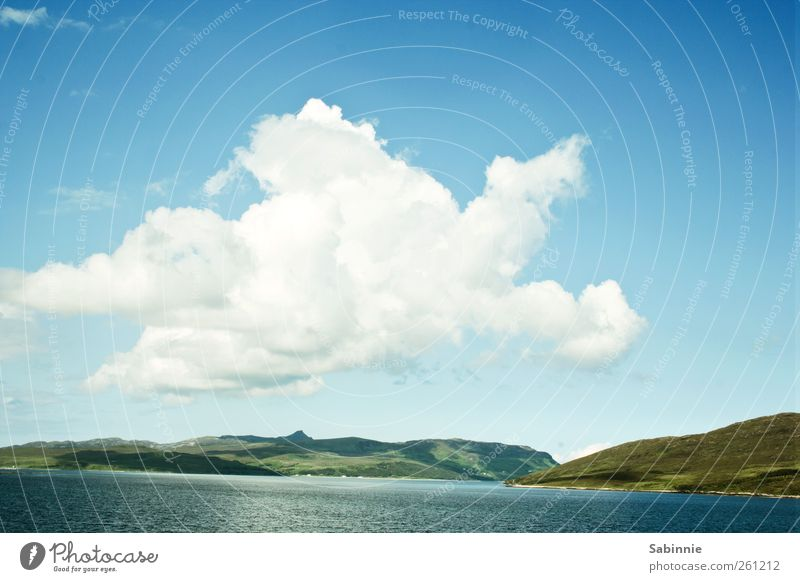 [Skye 03] Giant cloud Environment Nature Landscape Elements Clouds Grass Hill Lakeside Isle of Skye Scotland Free Natural Wild Blue Green White Colour photo