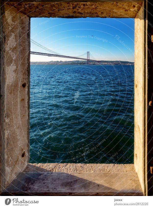 View through window on bridge Ponte Vasco da Gama over the Tajo near Lisbon Beautiful weather Tourist Attraction Tejo Bridge already Blue Colour photo