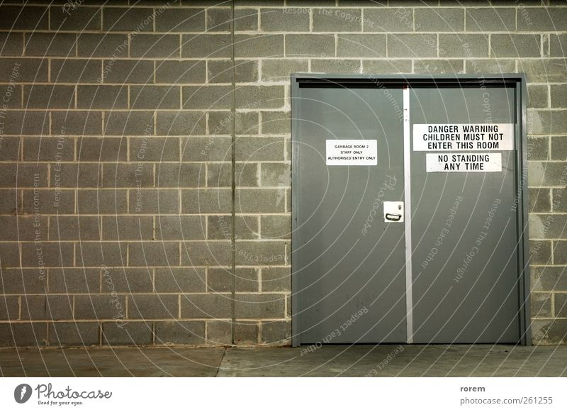garbage room Door Brick Simple Clean Gray Trash Garage sign Text wall recycle dump urban pollute Object photography Recycling enviromental washroom lavatory