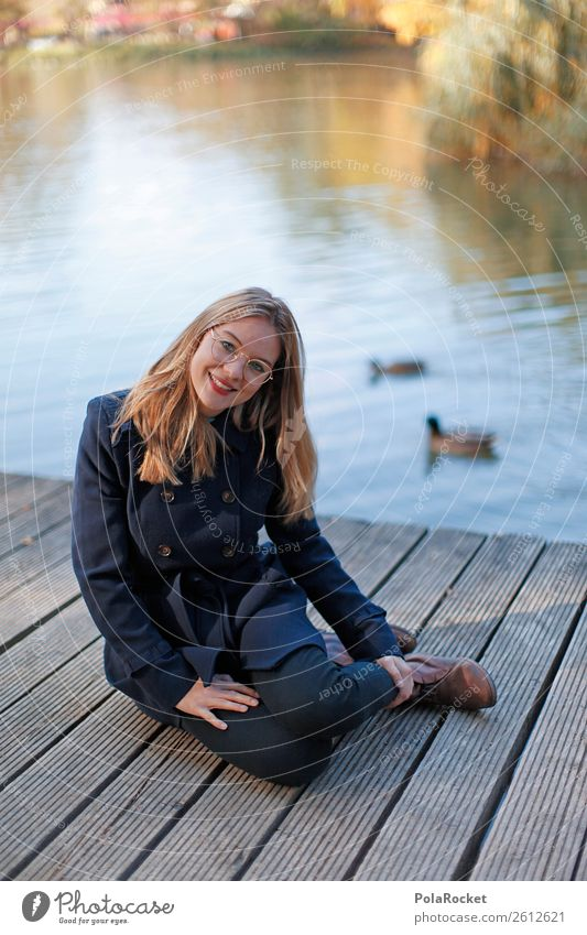 #A# By The Ent 1 Human being Esthetic Woman Sit To enjoy Nature Duck birds Coat Fashion Manikin Model Autumn Exterior shot Jetty Lake Pond Trip Colour photo