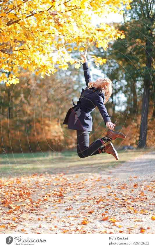 #A# Autumn Jump Art Esthetic Springboard Erratic Jumping power Ankle joint Freedom Ease Autumnal Autumn leaves Autumnal colours Early fall Automn wood