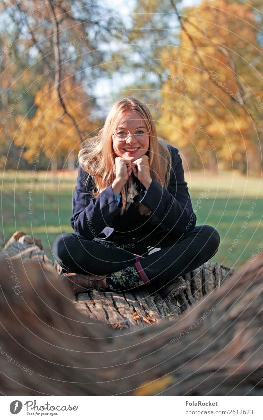#A# Autumn smile 1 Human being Esthetic Sit Autumnal Autumn leaves Autumnal colours Early fall Automn wood Autumnal weather Autumnal landscape Woman Tree trunk