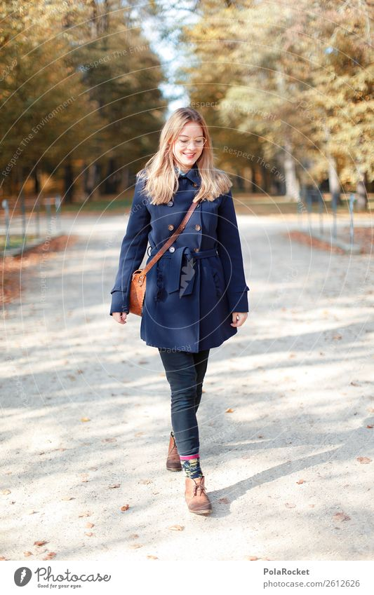 #A# Autumn walk Art Esthetic To go for a walk Autumnal Autumn leaves Autumnal colours Early fall Autumnal weather Autumnal landscape Woman Coat Fashion Smiling