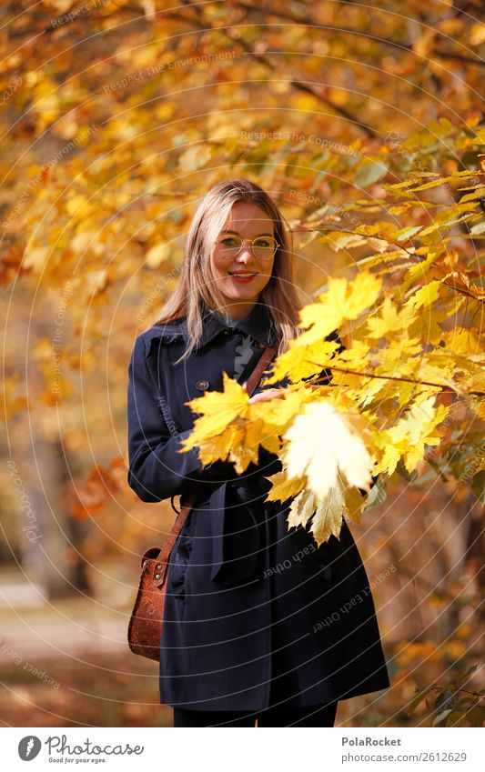 #A# Autumn Gold Art Work of art Esthetic Autumnal Autumn leaves Autumnal colours Early fall Automn wood Autumnal weather Autumnal landscape Woman Exterior shot