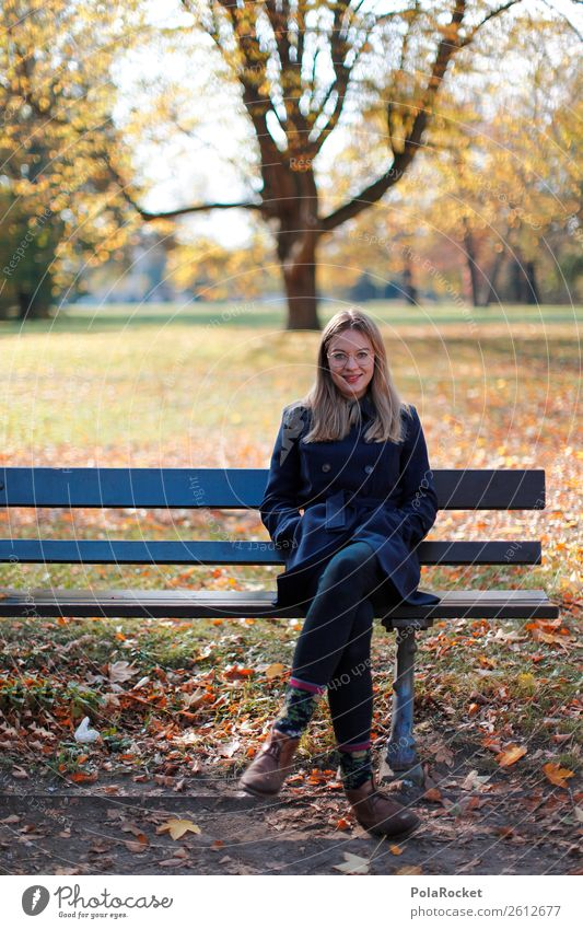 #A# Autumn bench Art Work of art Esthetic Autumnal Autumn leaves Autumnal colours Early fall Autumnal weather Bench Sit Exterior shot Beautiful weather Woman