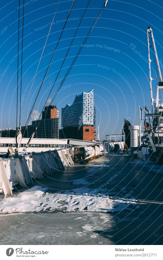 Vacation & Travel Town Winter Architecture Cold Snow Building Tourism Watercraft Ice Weather Beautiful weather Hamburg Skyline Manmade structures Harbour
