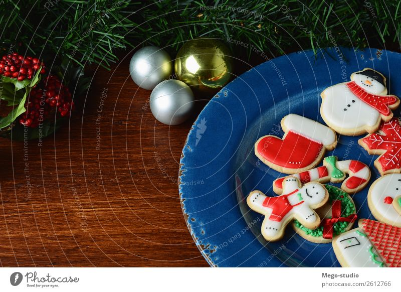 colorful Christmas cookies with festive decoration Food Dessert Winter Decoration Feasts & Celebrations Christmas & Advent Wood Ornament Delicious Red Tradition