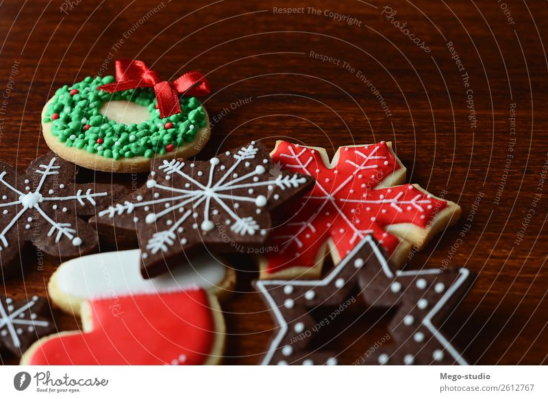 Mixed christmas cookies. xmas holiday concept. Dessert Winter Decoration Feasts & Celebrations Christmas & Advent Wood Ornament Delicious Red Tradition food