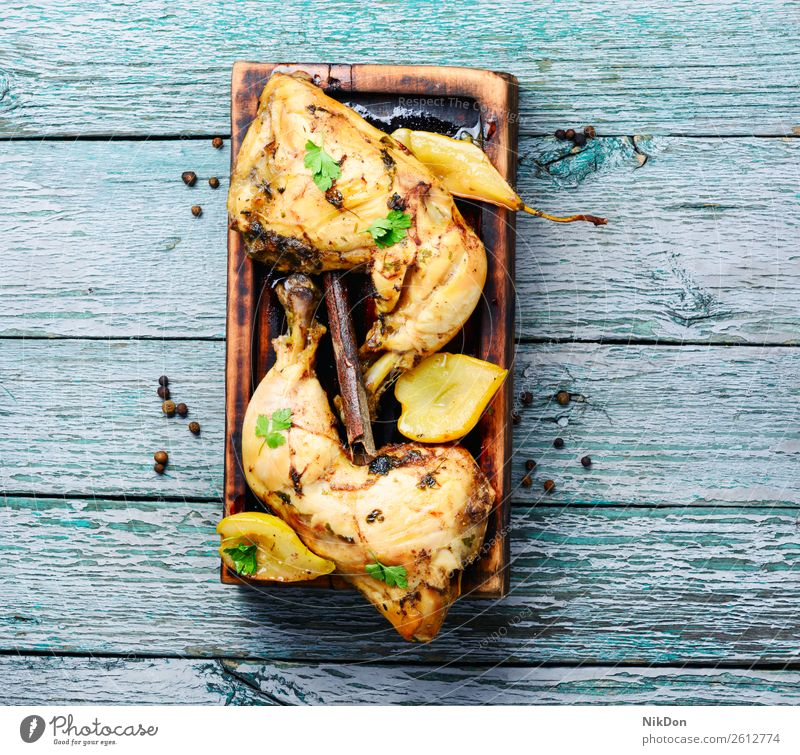 Chicken stewed in pear chicken meat baked meal autumnal roast chicken apricot sauce roasted grilled baked chicken american grilled chicken grilled meat food
