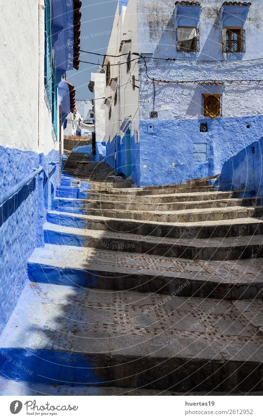 Vacation & Travel Old Blue Architecture Building Tourism Shopping Village Downtown Store premises City Small Town Vertical Morocco Moslem Destination