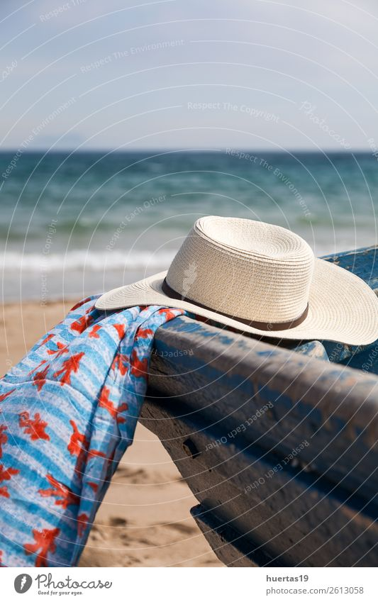 Hat in boat on the beach Woman Vacation & Travel Man Ocean Beach Lifestyle Adults Coast Style Fashion Gray Watercraft Design Retro Modern