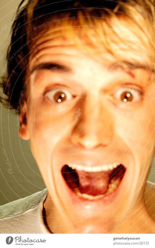 Man Face Eyes Dark Head Mouth Brown Bright Fear Teeth Near Scream Audience Panic Haste Strand of hair