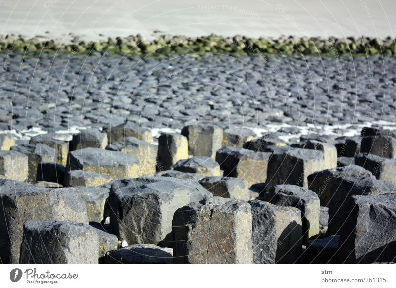 Nature Beach Environment Landscape Sand Coast Stone Rock Elements Simple Infinity North Sea Low tide Tide Stony Water line