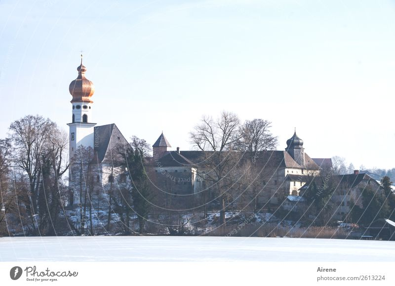 Beautiful Relaxation Loneliness Calm Winter Religion and faith Lake Contentment Church Esthetic Idyll Island Beautiful weather Past Tourist Attraction Longing
