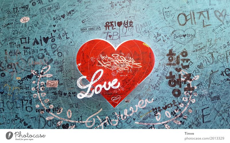 Red Heart Love Forever on blue wall with immortalizations Wall (barrier) Wall (building) Sign Characters Exceptional Blue Black White Infatuation Hope Desire