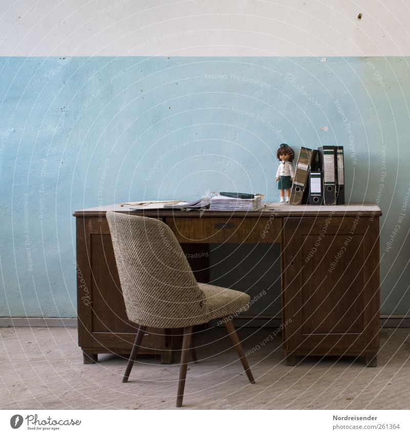 retrospective Lifestyle Design Interior design Decoration Furniture Armchair Chair Table Room Office work Workplace File Doll Authentic Blue Brown Nostalgia