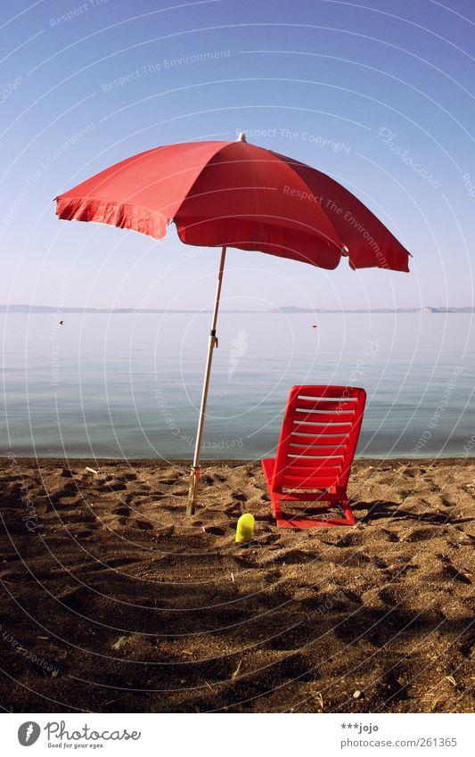 warmer. Vacation & Travel Tourism Summer Summer vacation Sun Sunbathing Beach Ocean Sunshade Sandy beach Lake Deckchair Beach vacation Warmth Body of water