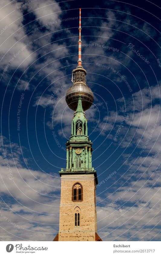 Fusion of the Giants Vacation & Travel Tourism Trip Technology Architecture Culture Sky Clouds Beautiful weather Berlin Town Church Tower Manmade structures