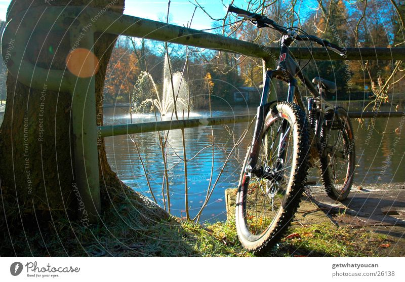 Parked in the park Part2 Bicycle Lake Beautiful Light Tree Well Forest Black Autumn Extreme sports Sun Coast downhill Handrail Sky