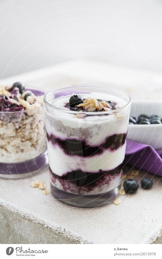 Chia pudding with blueberries Food Yoghurt Dairy Products Fruit Grain Nutrition Breakfast Organic produce Vegetarian diet Glass Healthy Eating Fresh Violet