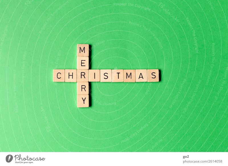 Merry Christmas on Green Leisure and hobbies Playing Board game Christmas & Advent Decoration Wood Characters Esthetic Happiness Emotions Anticipation