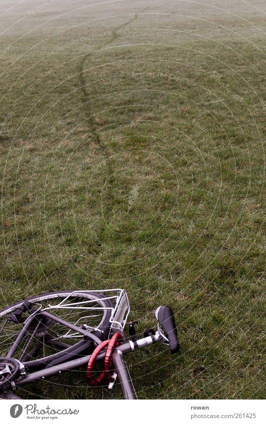 Meadow Grass Line Lie Bicycle Break Tracks Tire Parking Accident Grassland Bicycle frame Skid marks Imprint Brakes Breakdown