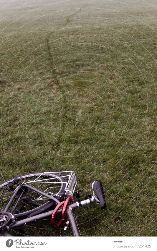 Meadow Grass Line Lie Bicycle Break Tracks Tire Parking Accident Grassland Bicycle frame Skid marks Imprint Brakes Breakdown