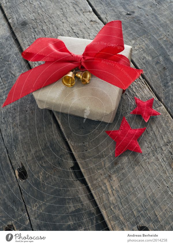 Gift with red ribbon Style Winter Decoration Christmas & Advent Packaging Package Anticipation Joy Love Tradition holiday merry rustic season seasonal space