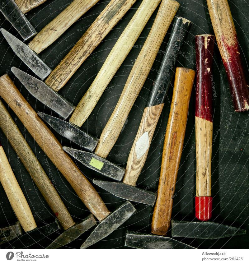 A hammer photo! Professional training Craftsperson Tool Hammer Work and employment Old Second-hand Arrangement Colour photo Interior shot Detail Deserted